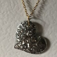 Silver And Gold Large Heart Glitter Charms Holo Necklace D204 Glitter Pendant