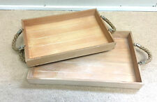 2 Wood Serving Trays Shabby Chic Decorative Home Decor Breakfast Dining Kitchen