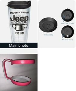 Jeep Tervis Tumbler 24Oz with Closable Lid & Pink Removable Handle NEW USA Made
