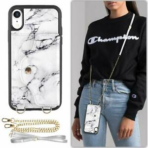 iPhone XR Wallet Case Durable PU Leather Crossbody Card Holder Slot White Marble