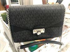 Michael Kors Signature Kinsley Medium Flap Shoulder Crossbody Bag Black Silver