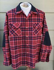 Vtg Pendleton Loop Collar Board Shirt Elbow Patch Wool Blend Red Plaid Mens M L
