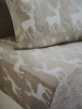 Next stag fleece fitted sheet + pillow case set single