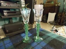 "Vintage ETCHED URANIUM GLASS TWIST STEM Set Of 2 SHOT GLASSES 5.5"" VG !"