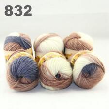 Sale New 6 Skeins x50gr Rainbows Multicolor Hand Knit Wool Yarn Wrap Scarves 32
