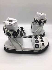 $158 Diesel Women's SA Grand LCE White Leather Sandals Size 6.5