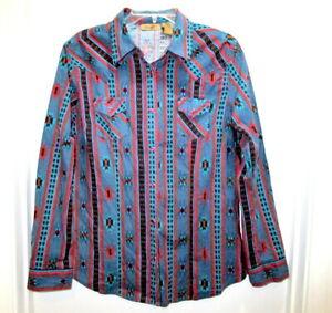 Wrangler Aztec Western Southwest Shirt Button Down Long Sleeve Size Large