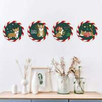 4PCS Christmas Window Wall Sticker Decals Snowflake Santa Claus Home Xmas Decor