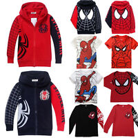 Kids Boys Spider-man T-Shirt Tee Tops Hooded Hoodies Sweatshirt Zip Jacket Coats