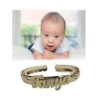 14k Gold Overlay personalized any Name baby Bangle Bracelet adjustable 0-3 years