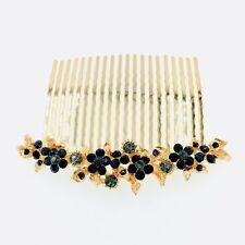 USA Hair Comb Hairpin use Swarovski Crystal Elegant Wedding Bridal Black C9