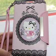 For Samsung Galaxy Note 2 -PINK HELLO KITTY LEATHER WALLET POUCH FLIP CASE COVER