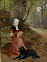 Nice Oil painting young woman in autumn forest landscape with her pet black dog