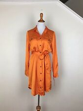 Lauren Ralph Lauren $150 Silk Long Sleeve Button Down Shirt Dress With Tie 12P
