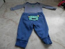 Baby Boy 3 Months Carter's LS Striped Monster Romper Blue Stretch Pant Set