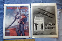 TWO 1917 HANSEN GLOVES Full-Page Magazine ADS Styles for Workers & WWI Military