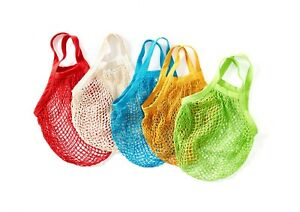 5 x Boulevard String Shopping Bags, recycled unbleached cotton,Short Handles