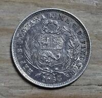 Peru 1/2 Dinero Coin~1863 Libertad~.900 Silver 1.25g~KM#189~Very Fine+~#983