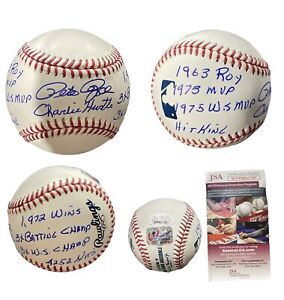 PETE ROSE HAND SIGNED AUTOGRAPHED INSCRIBED 9 STATS BASEBALL WITH FSG & JSA COA