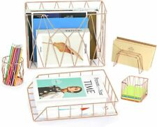 Rose Gold Office Supplies 5 in 1 Desk Organizer Set Wall File Holder Letter Tray