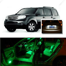 For Honda Pilot 2009-2016 Green LED Interior Kit + Xenon White License Light LED