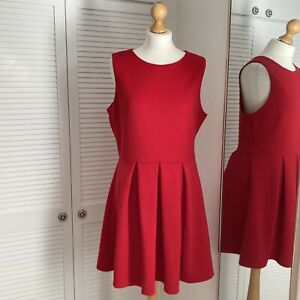 New Look Ribbed Skater Dress Size 16 Red Sleeveless A-Line Special Occassion