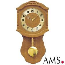AMS Wall Clock 964/4 Quartz with Pendulum Wooden Housing Oak Living Room