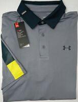 NWT $65 Under Armour Heat Gear SS Gray Shirt Mens Size MD LG XL 2XL Playoff Polo