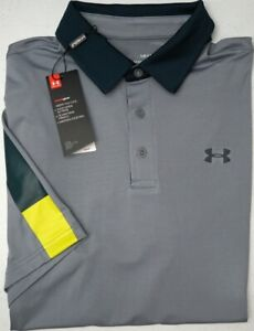 NWT $65 Under Armour Heat Gear SS Gray Shirt Mens Size MD LG XL 2XL Playoff Polo