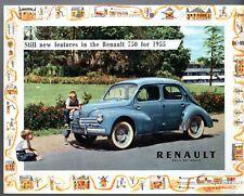 Renault 750 4CV 1954-55 UK Market Foldout Sales Brochure Saloon Convertible