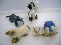 4 DANBURY MINT CATS OF CHARACTER PORCELAIN COLLECTIBLE CATS
