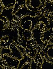 """Fabric Music Notes Sheet Music Jazz Metallic on Black Cotton 23"""""""