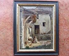 Tableau signé  Simon Durand. Cour de ferme. HsP C:1880. Cadre  48x32 cm Swiss