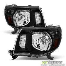 For 2005-2011 Toyota Tacoma Black Headlights Headlamps Light 05-11 Left+Right