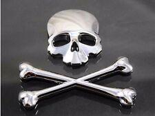 Universal 3D Skull Metal Emblem Badge Decal Tank Sticker Motorcycle Bike ATV