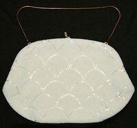 La Regale White Italian Beaded Art Deco Nouveu Purse Clutch Evening Bag Handbag