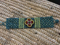 BR503-001 Magnetic Clasp Glass Horse Southwestern Style Bracelet Hand Made Beads