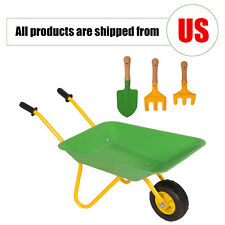 Kids Wheelbarrow Yard Rover Steel Tray Cart Metal Toys Kart w/ Garden Tool Set