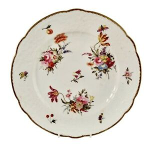Coalport blind moulded plate, white, flowers and butterflies, ca 1815