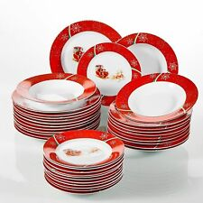 36PCs Xmas Christmas Deer Dinner Set Red Porcelain Tableware Plates Bowls Gift