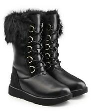 UGG Aya Waterproof BOOTS Black Leather Toscana Sheepskin Cuff Women Sz 7