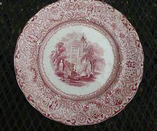 "Antique BUDA England W Staffordshire Red Transfer Ware Dinner Plate 9-3/4"""