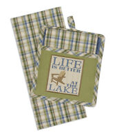 LIFE IS BETTER AT THE LAKE Pocket Pot Holder & Dish Towel Set