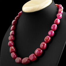 475.00 CTS EARTH MINED SINGLE STRAND RICH RED RUBY OVAL SHAPE BEADS NECKLACE