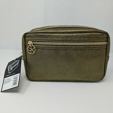 NEW Sonia Kashuk Overnighter Makeup Bag Gold Faux Leather Travel Cosmetics Case