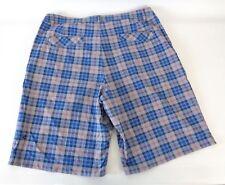 Lululemon Sz 34 Kahuna Shorts Casual Flat Front Plaid Blue Red Gray Nylon