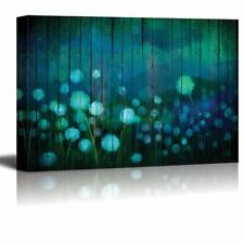 Watercolor Dandelions on a Field Over Teal Wooden Panels - Canvas Art - 32x48