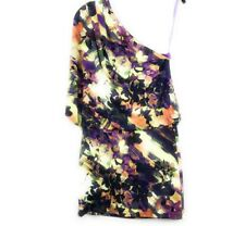 ND New Directions Womens Dress Size 6 One Shoulder Purple Floral Stretch Mini
