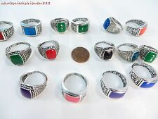 US SELLER bulk lot 20pcs wholesale vintage style enamel fashion costume rings