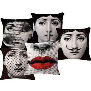 Fornasetti Big Eye Lady Face Sofa Cushion Cover Red Lips Eyes Pillow Case Decor